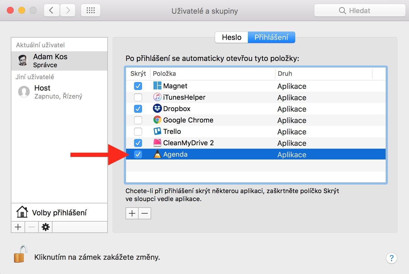 Nastavení automaticky spouštěných aplikací po startu